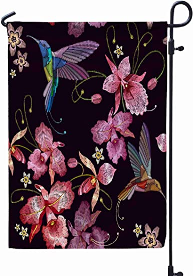 Shorping Decorative Outdoor Garden Flag 12x18inch Humming Bird And Orchid Exotic Tropical Flowers Seamless Pattern Templat For Holiday And Seasonal Double Sided Printing Yards Flags Garden Outdoor
