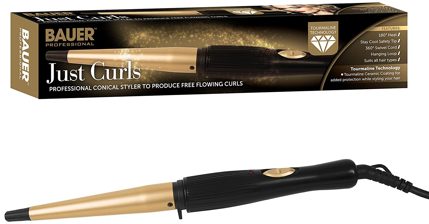 Bauer Professional Tourmaline Ionic Ceramic Hair Curling Wand Styler Benross 38870