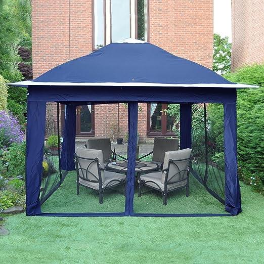 gardensity® Pop up gazebo Calidad Jardín Patio, abombada, Pop Up Carpa toldo Toldo lateral con malla, azul: Amazon.es: Jardín