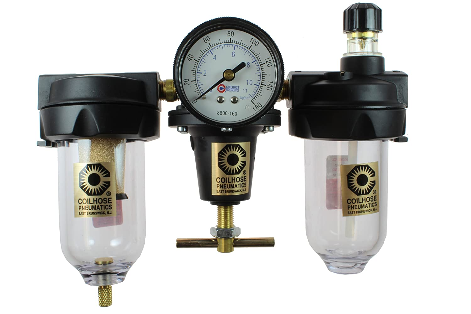 Coilhose Pneumatics 8882AAG Heavy Duty Series Filter, Regulator, and Lubricator Trio Assembly, 1/4-Inch Pipe Size by Coilhose Pneumatics  B003D7L0MY