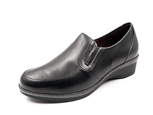 Zapato cómodo Mujer Tipo mocasín PITILLOS, en Piel Color Negro, cuña 3cm - 5217-587: Amazon.es: Zapatos y complementos