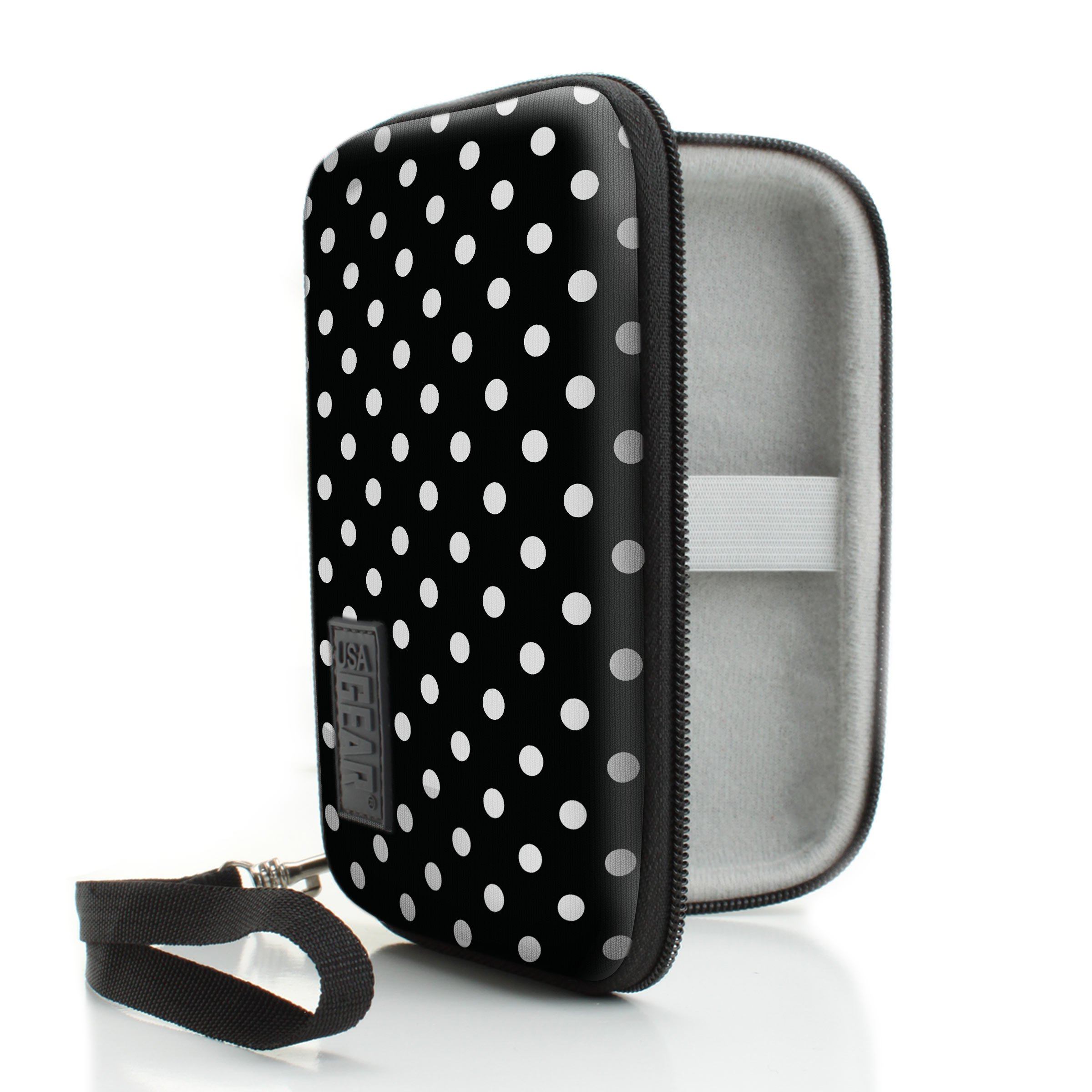 USA Gear Mini Photo Printer Travel Case for Kodak Mini 2 - Weather & Scratch Resistant Hard Shell, Carrying Wrist Strap with Storage for Charging Cable, Printer Cartridge & Photo Paper - Polka Dot