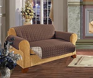 Elegance Linen Quilted Pet Dog Children Kids Furniture Protector Microfiber Slip Cover Sofa, Chocolate