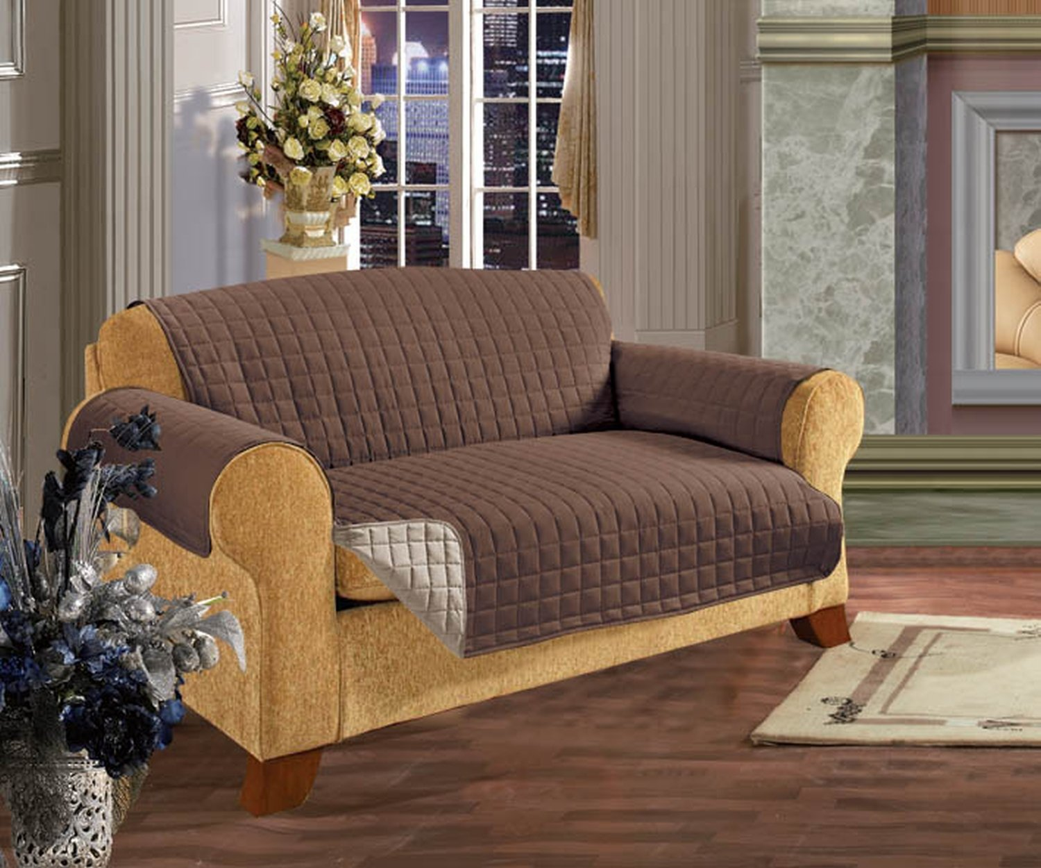 Amazon.com: Elegance Linen Quilted Pet Dog Children Kids Furniture  Protector Microfiber Slip Cover Sofa, Chocolate: Home U0026 Kitchen