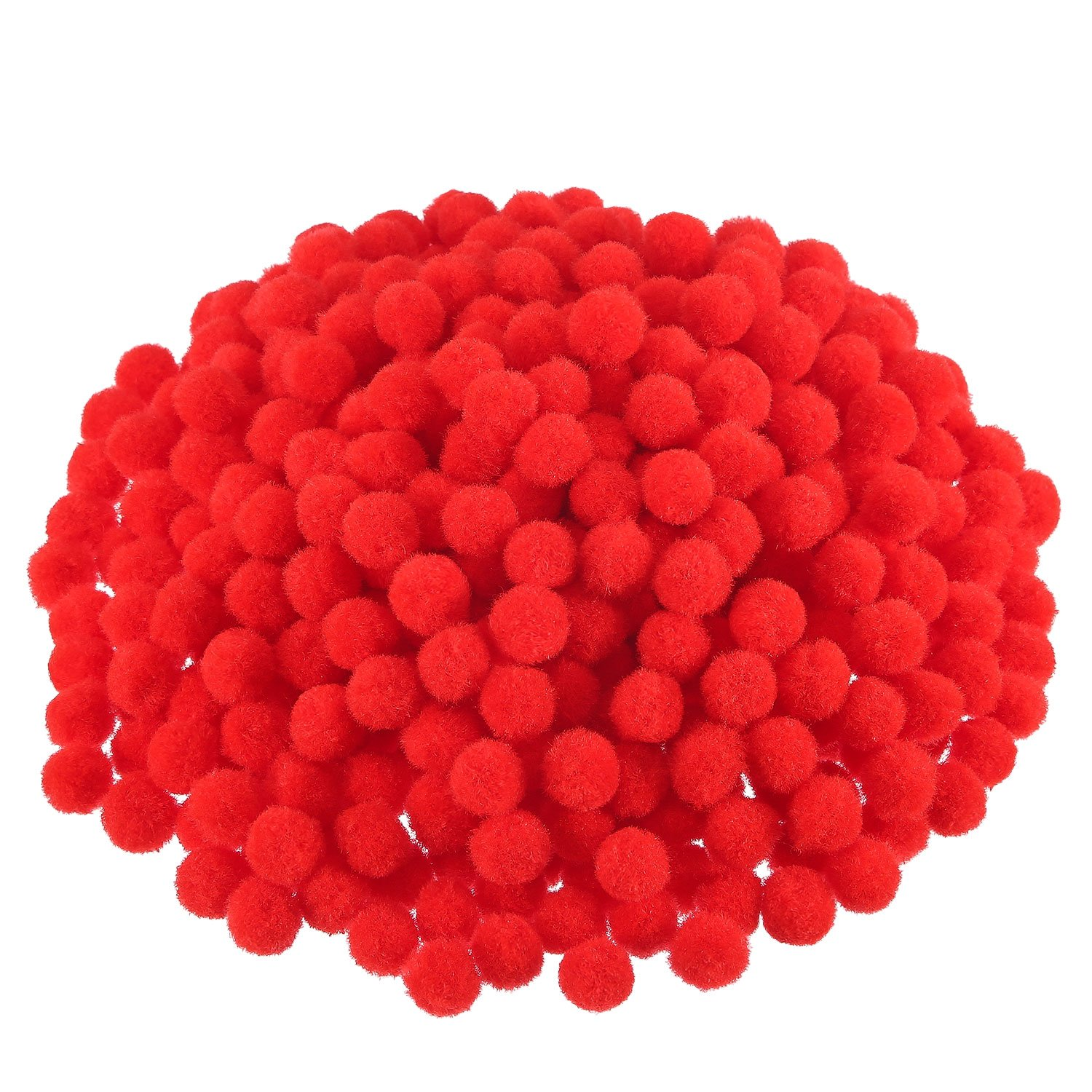 Blulu Pompoms for Craft Making and Hobby Supplies, 500 Pieces, 1.2 cm/ 0.5 Inch (Red)