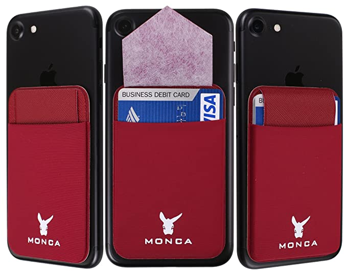 6990ef858a1e Flap Stick on Wallet Card Holder, MONCA Flap Ultra-Slim Credit Card Wallet  Stretchy Lycra with Secure Flap [Universal] fits Most Cell Phones & Cases  ...