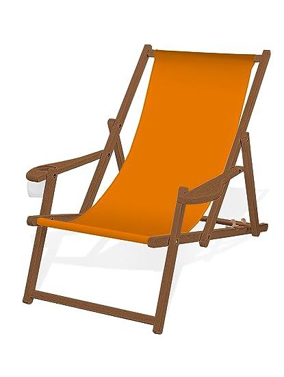 Liegestuhl Holz Mit Armlehne.Holz Liegestuhl Mit Armlehne Und Getränkehalter Klappbar Mit Dunkelbrauner Lasur Wechselbezug Orange