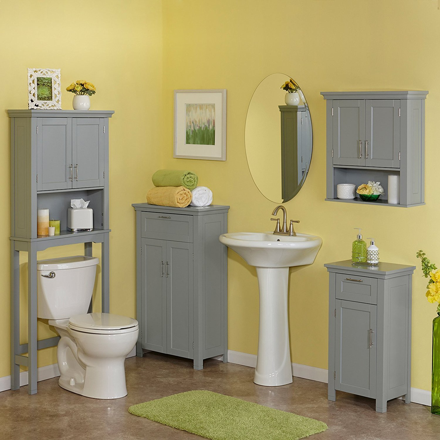 Amazon Two Door Floor Bathroom Cabinet in Gray Home Improvement
