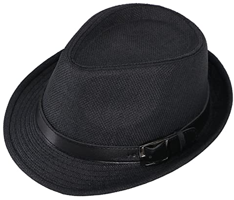 32c3a6f2532 Harcadian Men   Women s Short Brim Structured Fedora Straw Hat w Buckle  Band Sun Hat