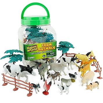 Amazon Com Boley Small Bucket Farm Animal Toys 40 Piece Farm