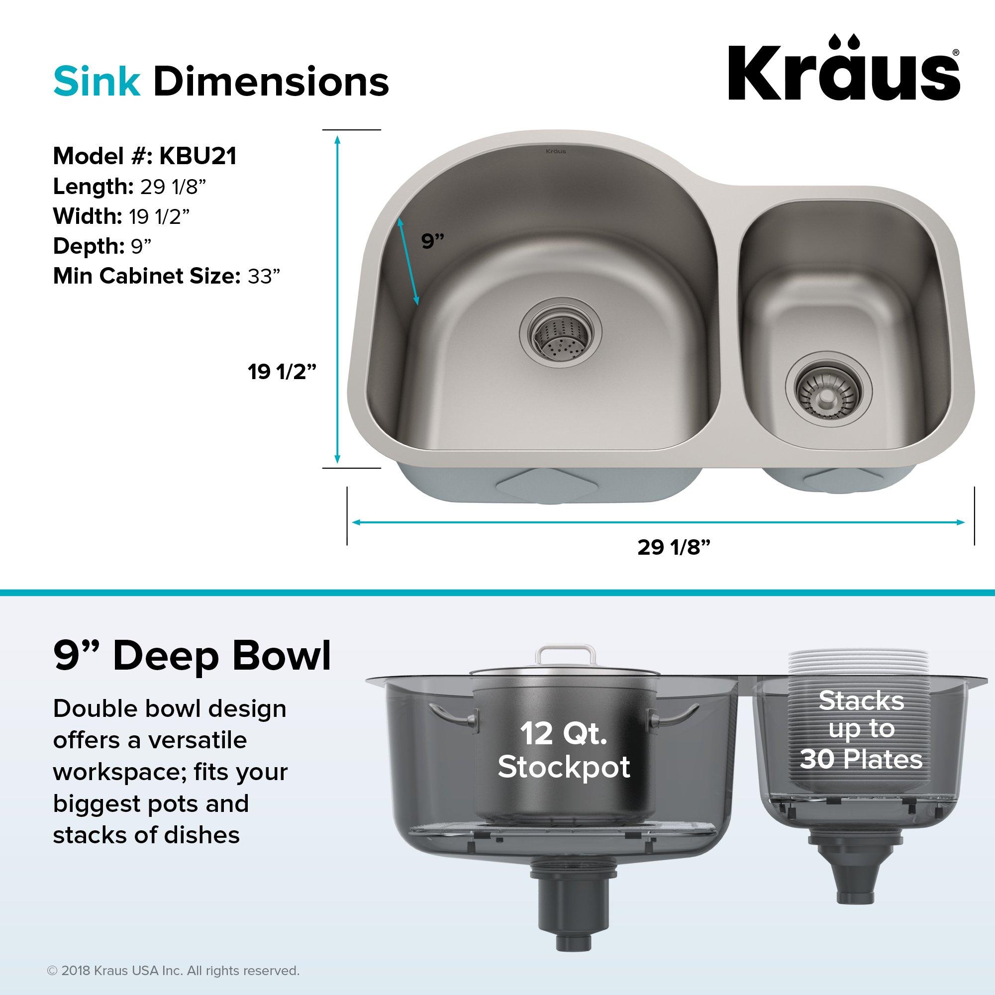 Kraus KBU21 30 inch Undermount 60/40 Double Bowl 16 gauge Stainless Steel Kitchen Sink by Kraus (Image #6)