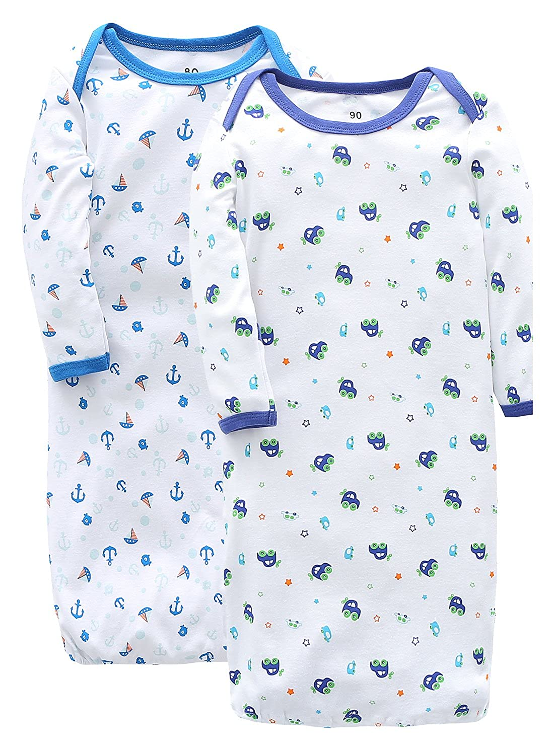 MARQUEBABY Car & Boat Baby Gown - Cotton Soft Envelope Collar Mittens Sleeper 90