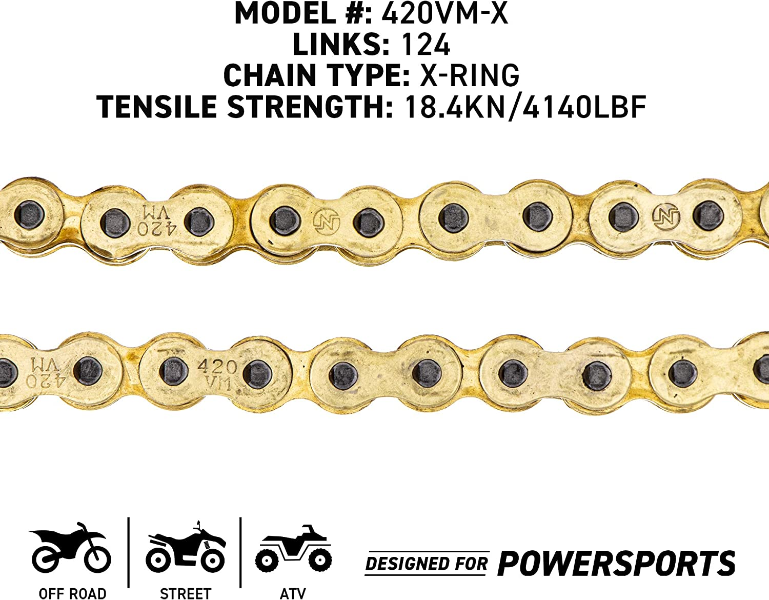 NICHE Gold 420 X-Ring Chain 126 Links With Connecting Master Link