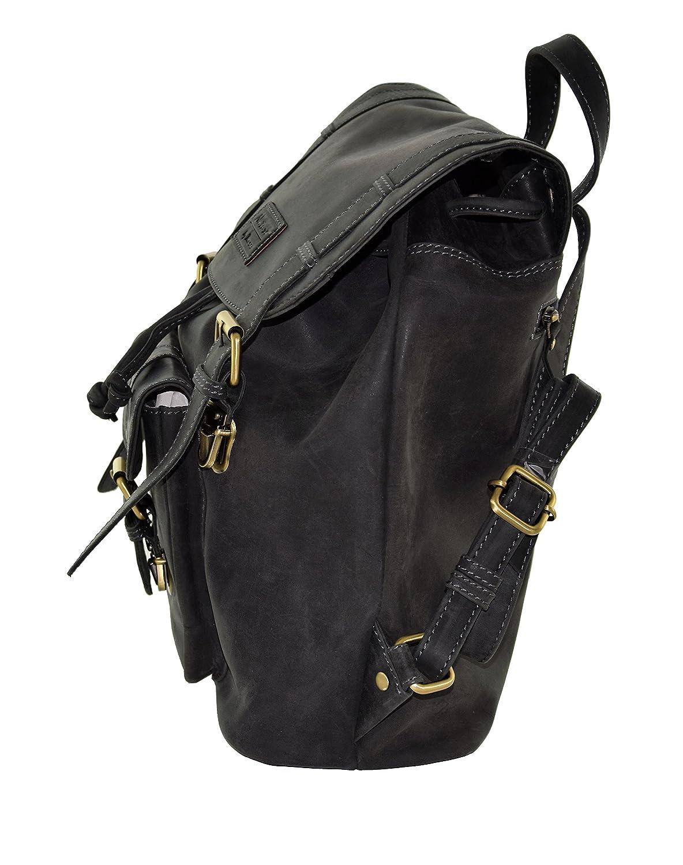 Lederrucksack-Vintage-schwarz-Büffelleder-Damen