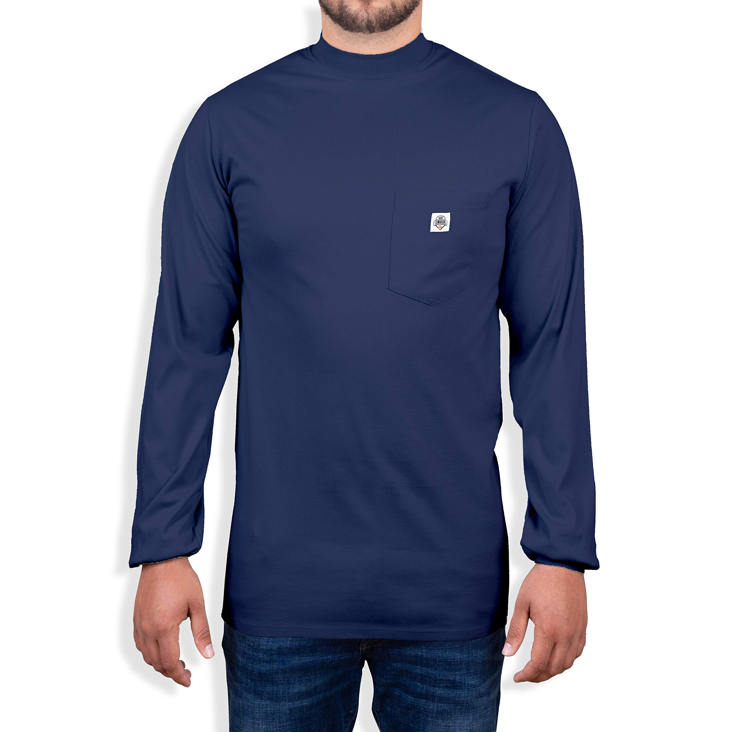 Fire Resistant 7 oz. Cotton Long Sleeve Henley - FR T-Shirt Defies Melting, Dripping, After-Burning - Fire Retardant Clothing for Electricians, Welders, More by Ur Shield, Navy by Ur Shield