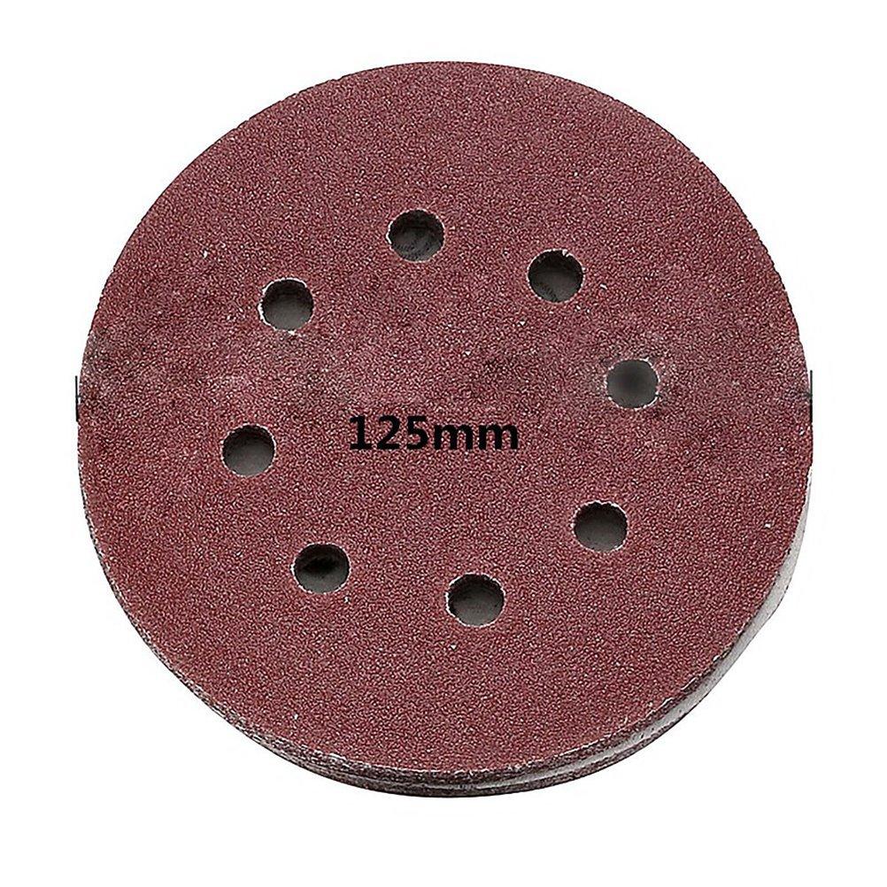 UEETEK 40pcs 8 foro 5 pollici dischi abrasivi tondo 60 80 120 210 grana per Bosch PEX 220//300 levigatrice rotorbitale 125mm