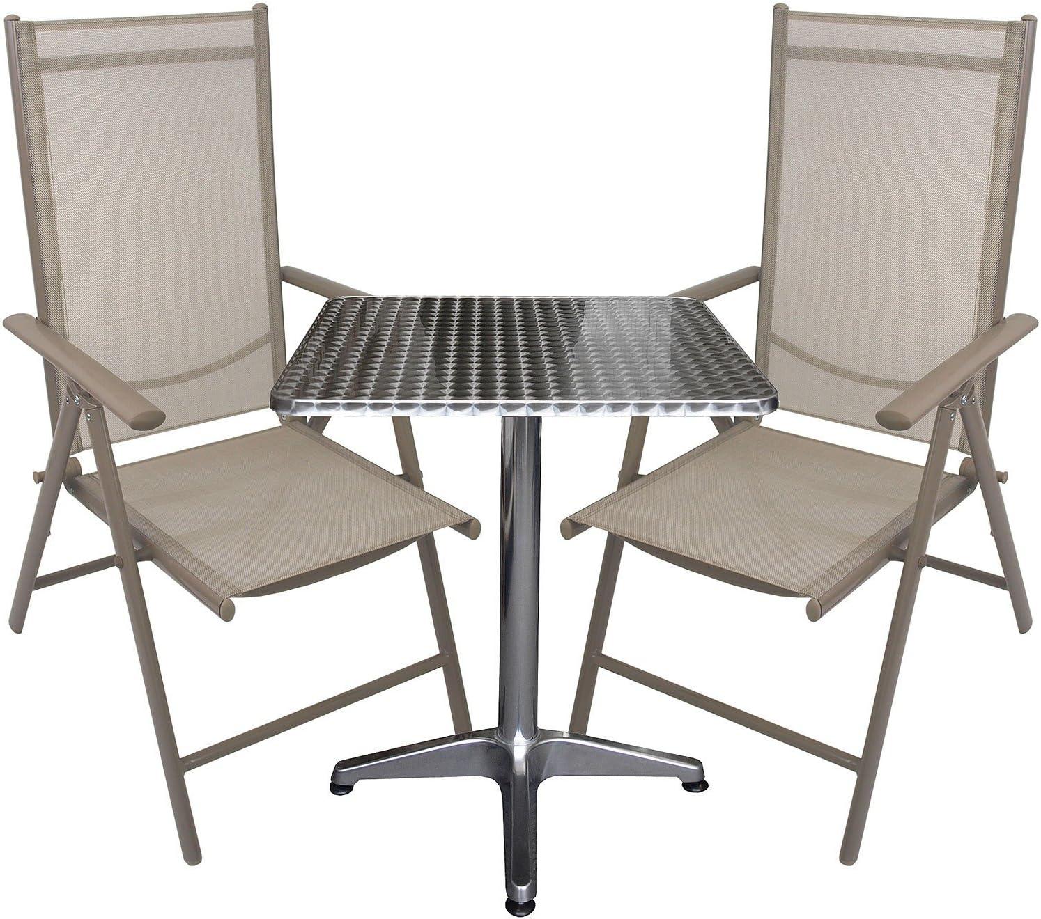 Multistore 2002 3tlg. Bistrogarnitur Bistrotisch 60x60cm + Aluminium Hochlehner mit Textilenbespannung Lehne in 7 Positionen verstellbar Sitzgruppe Sitzgarnitur