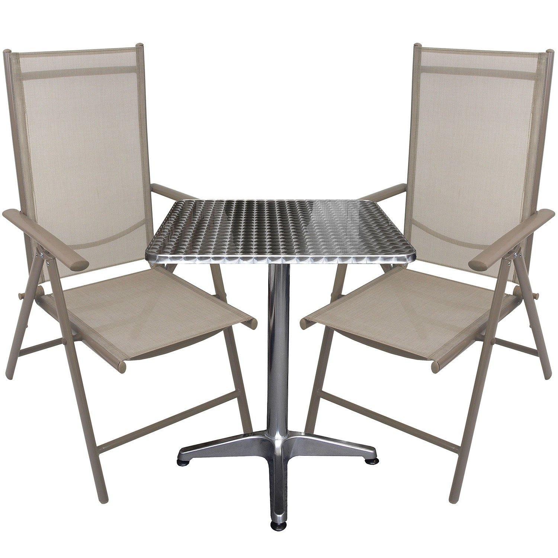 3tlg. Bistrogarnitur Bistrotisch 60x60cm mit klappbarer Tischplatte + Aluminium Hochlehner mit Textilenbespannung Lehne in 7 Positionen verstellbar Sitzgruppe Sitzgarnitur