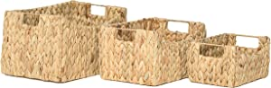 RGI Home Rectangular Shelf Baskets for Organizing - Deluxe Hand Woven Wicker Decorative Storage Organizers with Built In Handles, Set of 3 (Natural)