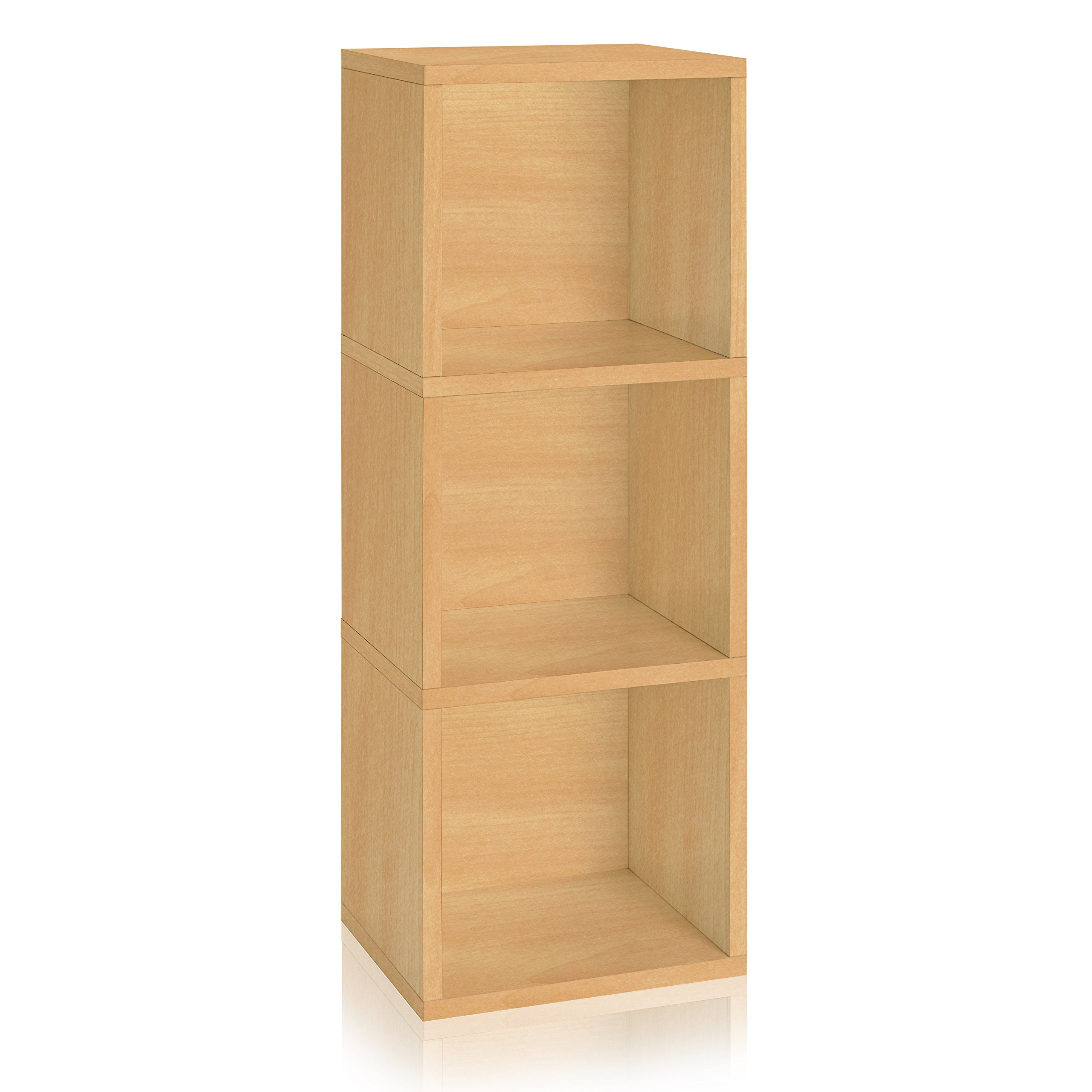 Way Basics Eco Friendly Wynwood 3-Cube Bookcase Organizer and Storage Unit, Natural (made from sustainable non toxic zBoard paperboard)