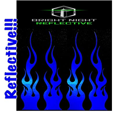 "Flame Decals Reflective (2) 1.25""x5.25"" Great for Helmets, Motorcycles, Computer Stickers, Phone, Tablet, Hard hat (Blue Reflective): Automotive"