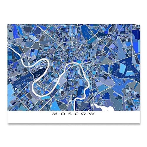 Amazon.com: Moscow Map Print, Russia, City Street Art Poster: Handmade