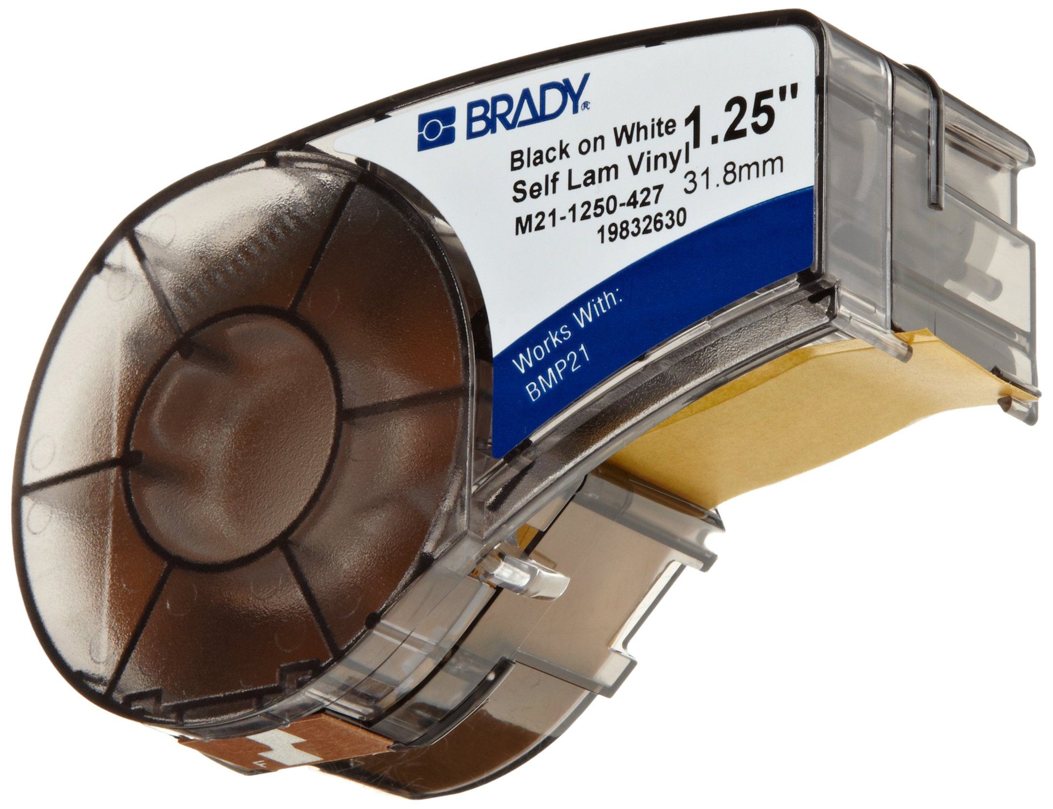 Brady M21-1250-427 14' Length, 1.25'' Width, B-427 Self-Laminating Vinyl, Black On White/Translucent Color BMP 21 Mobile Printer Label