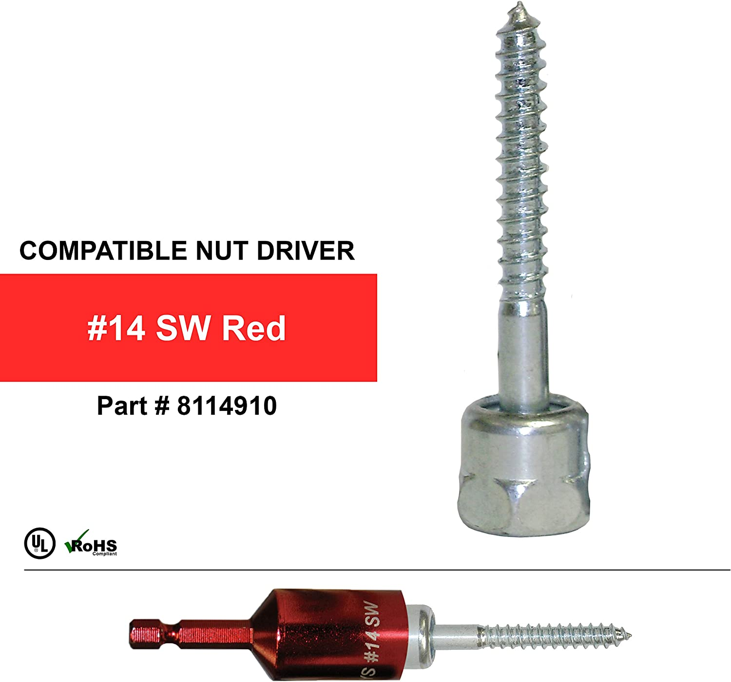 Rod Hanger Corrosion Resistance Everflow Sammys 8023925-50 SWG 30 3//8 inch Screw Sidewinder Designed for Wood 1//4 x 3 inch Screw Length Pack of 50 Steel with Zinc Plated Everflow Supplies Installs Horizontally