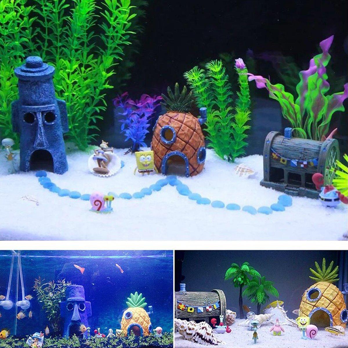 Ishowstore - Adornos de resina para acuario, decoración de peces, decoración de acuario, diseño de esponjas, 3 unidades: Amazon.es: Productos para mascotas