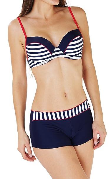 Ropa de baño para mujer - Bikini con sujetador con aro y push-up y braguita tipo short. Color blanco y azul marino azul XXX-Large : Amazon.es: Ropa y ...