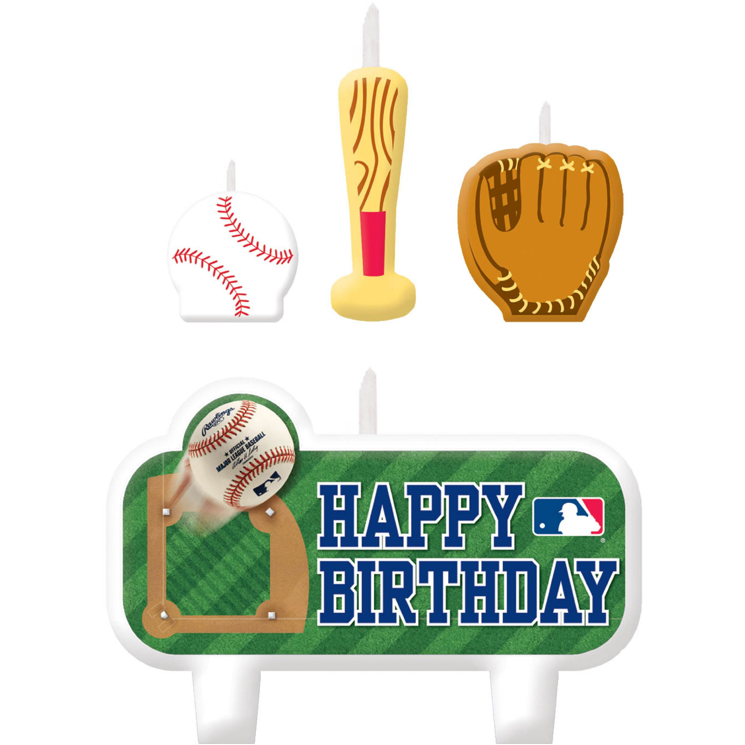 Amscan Baseball Dream Major League Molded Candle Cake Decoration, Wax, 7'' x 4'', Pack of 4 Childrens, Mlb Birthday Candle, 24 Pieces