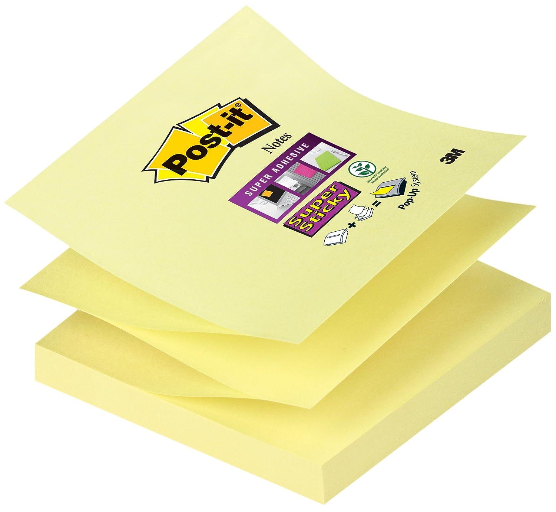 Post-it R33012SY - Blocco di promemoria adesivi, 76 x 76 mm, 90 foglietti quadrati, 12 pz, colore giallo 3M Deutschland GmbH