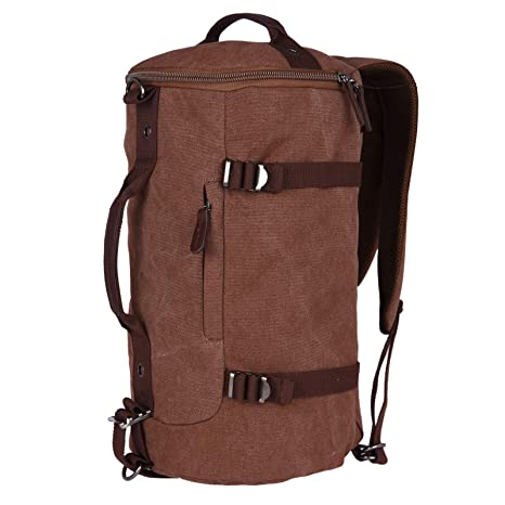 FUR JADEN Canvas Brown Duffle Travel Bag with Backpack Straps and Long  Shoulder Strap  Amazon.in  Bags 1aa9f4b37b3cd