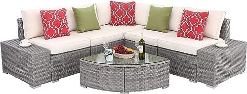 Do4U 6 PCs Outdoor Patio PE Rattan Wicker Sofa Sectional Furniture Set Conversation Set