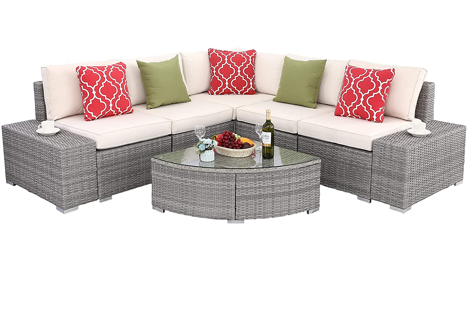 Do4U 6 PCs Outdoor Patio PE Rattan Wicker Sofa Sectional Furniture Set Conversation Set- Thick Seat Cushions Glass Coffee Table Patio, Backyard, Pool Steel Frame Beige