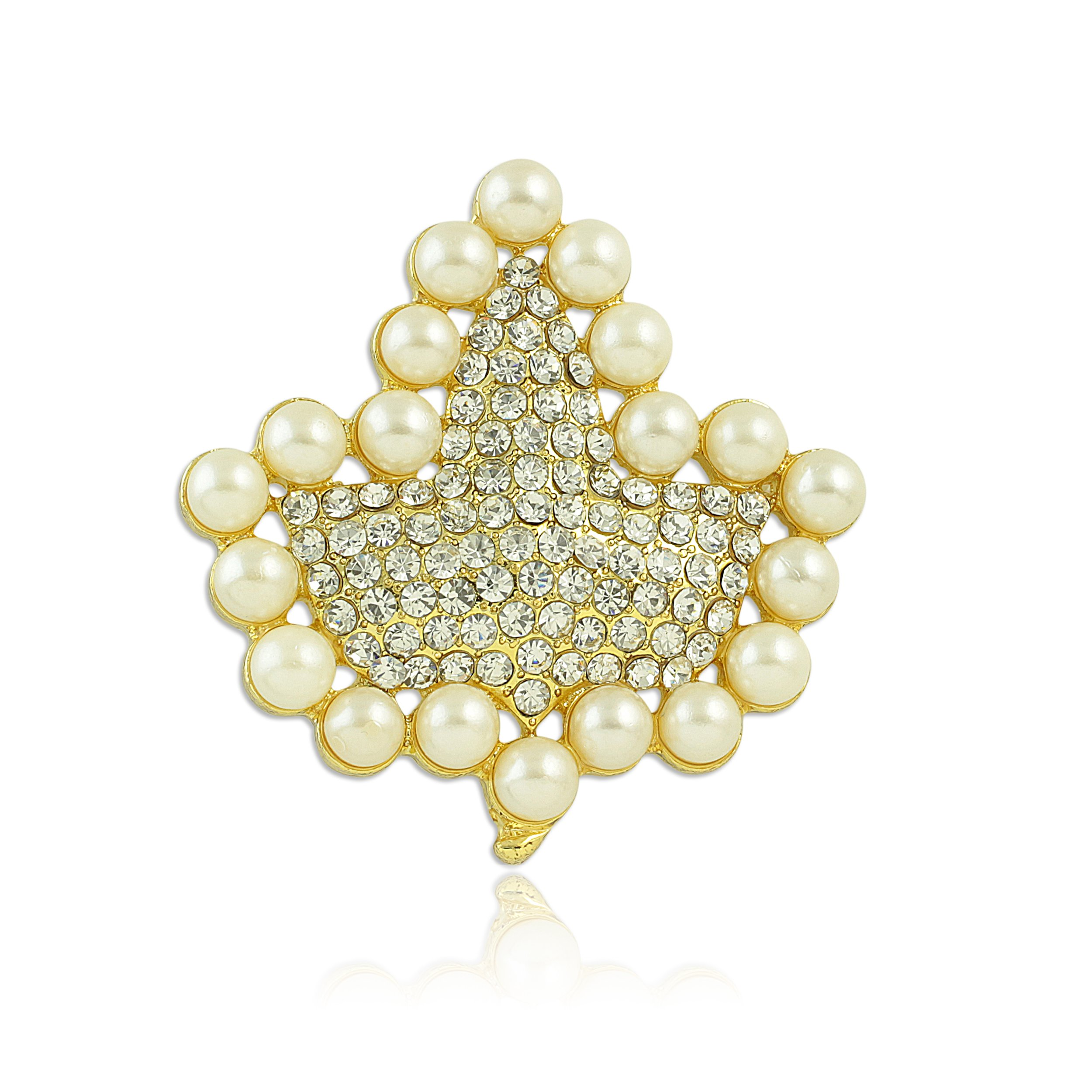 Sparkling Faux Pearl and Rhinestone Ivy Brooch (Gold Tone)