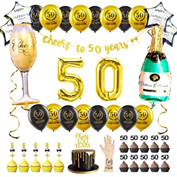 Black Gold 50th Birthday Decorations For 50 Women Men