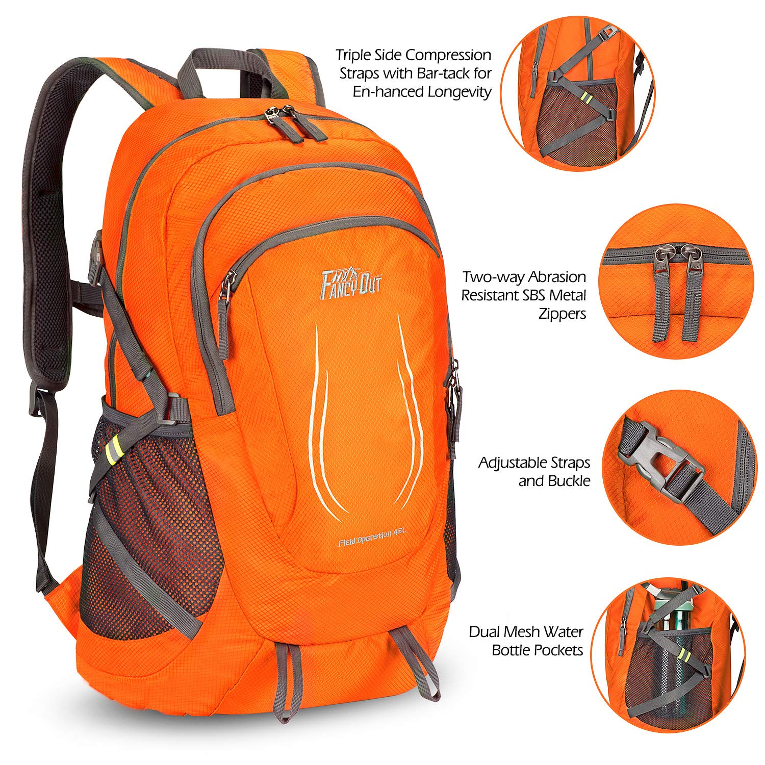 Foldable Hiking Backpack FANCYOUT 40L Travel Daypack Water-Resistant Lightweight Hiking Daypack for Camping