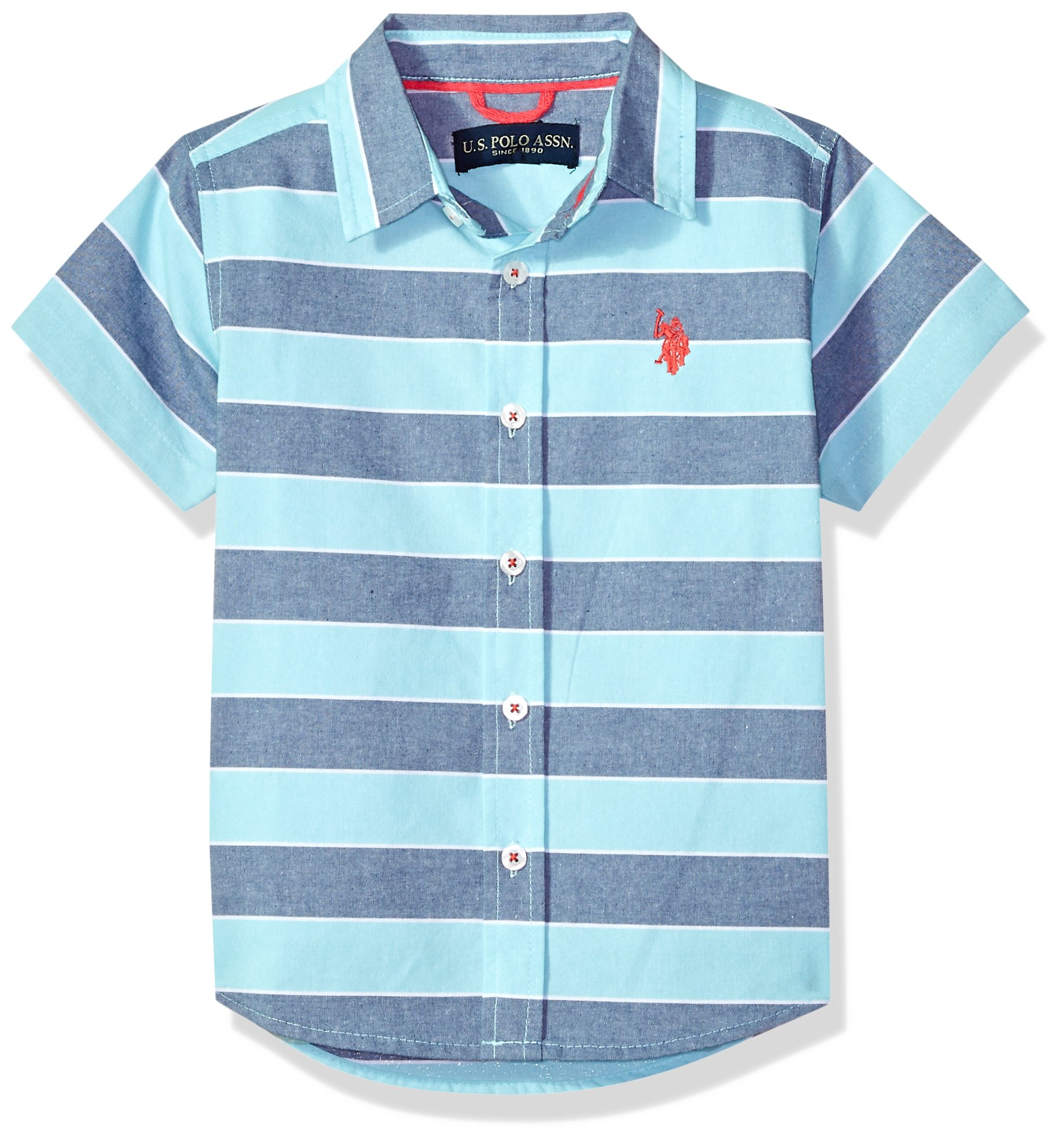 U.S. Polo Assn. Boys Short Sleeve Striped Sport Shirt, Grosgrain Locker Loop Collar Painters Aqua 14/16