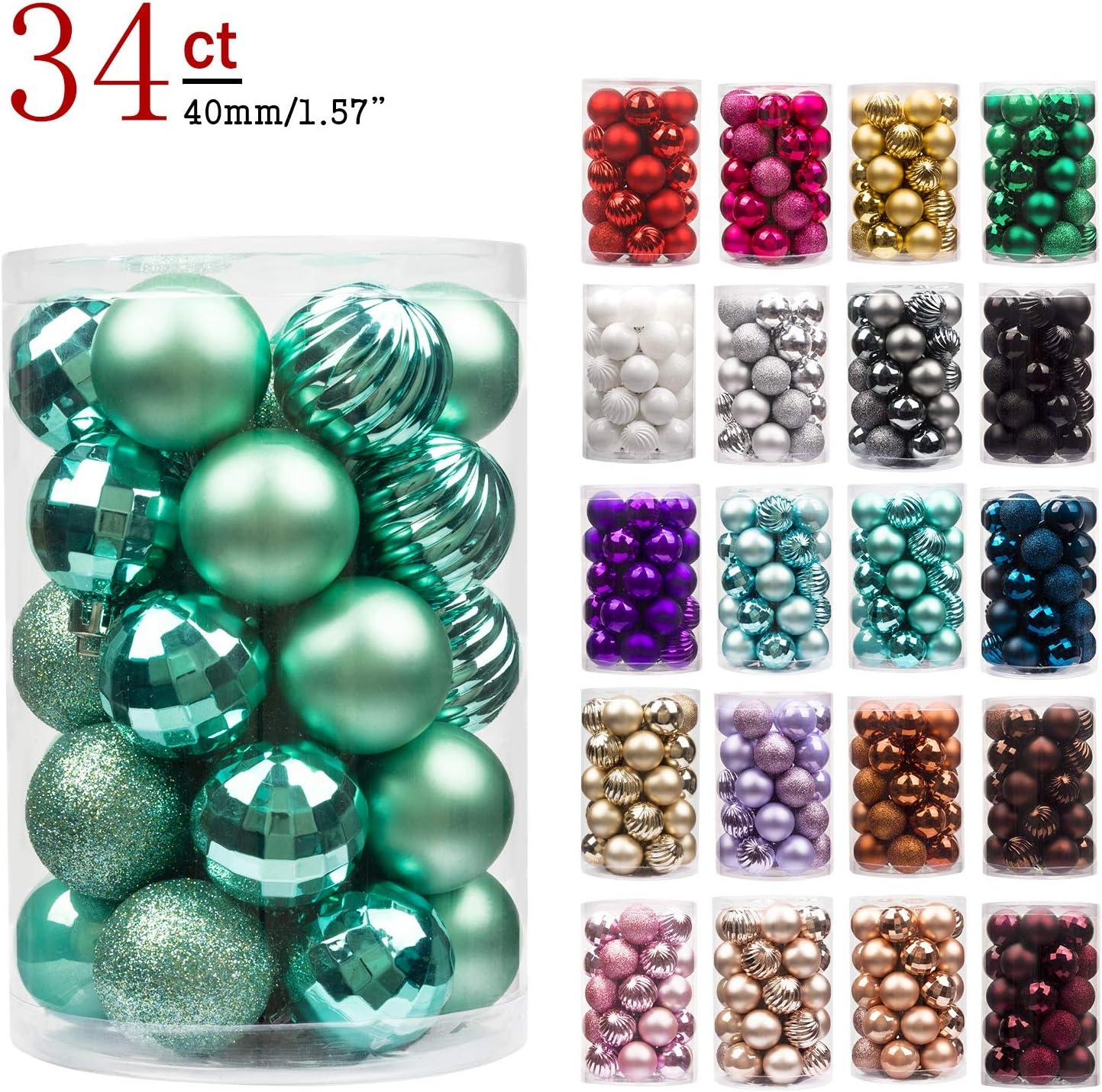 BusyBee Verde Menta Bolas de Navidad de 4cm 34 Piezas para la decoración del árbol de Navidad Adornos de árbol de Navidad