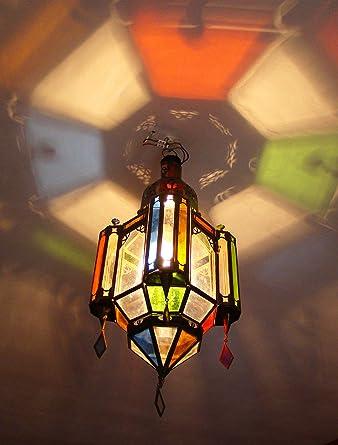 Lustre Lanterne Plafonnier H 53cm Fer Forge Verre Applique