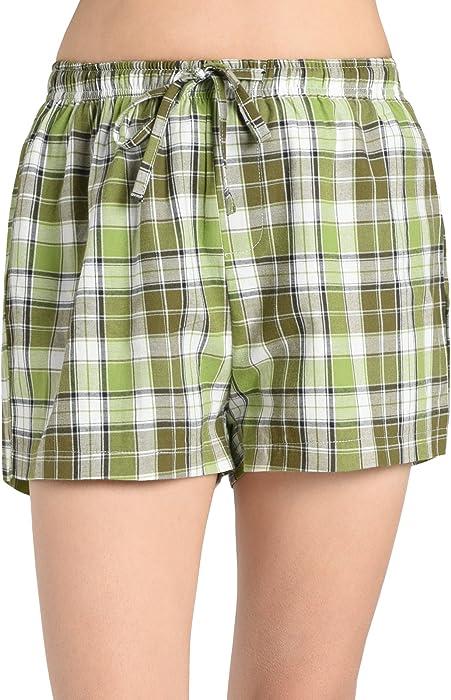 571af779e8 Latuza Women s Plaid Sleep Shorts S Yellowgreen at Amazon Women s ...