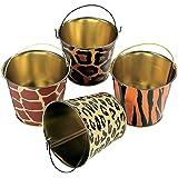 12 Mini Safari Wild Animal Print Tin Pails