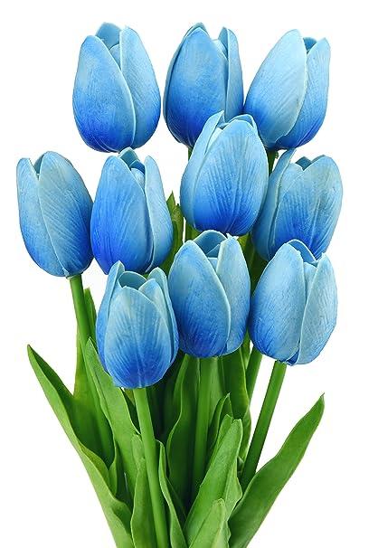 Mazzo Di Fiori Blu.Fiveseasonstuff 10 Pezzi Tocco Realistico Tulipani Artificiale