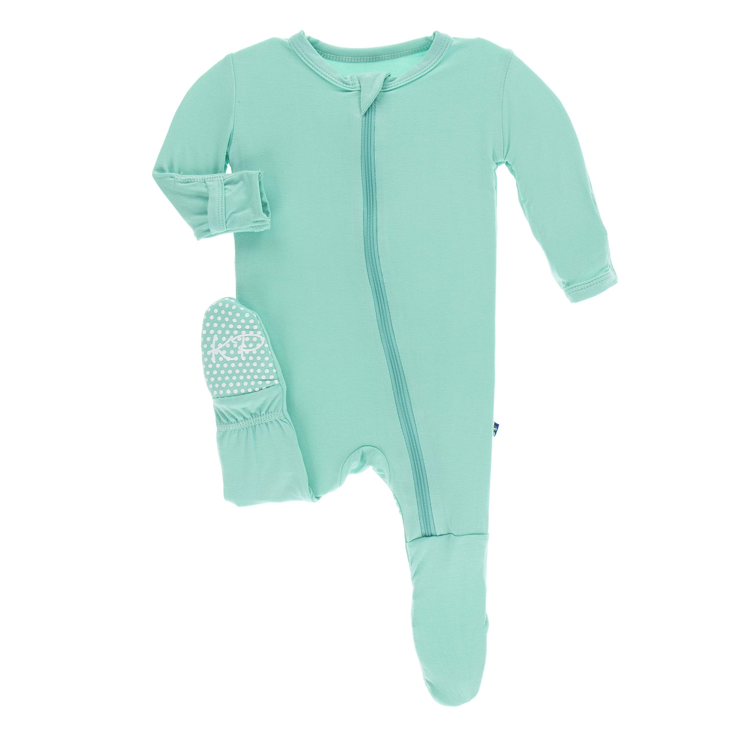 Kickee Pants Little Boys Solid Footie with Zipper - Glacier, 3-6 Months