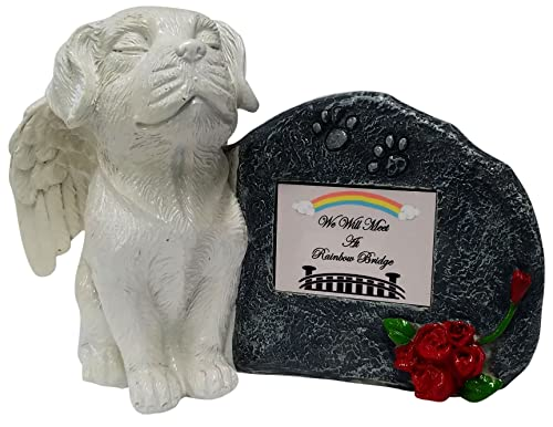 Imprints Plus White Angel Dog Memorial Statue with Tribute Plate and Keepsake Box for Ashes by