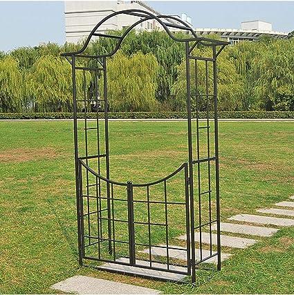 225 x 120 x 46 cm Arco de Metal con Puerta, Pérgola de Jardín ...