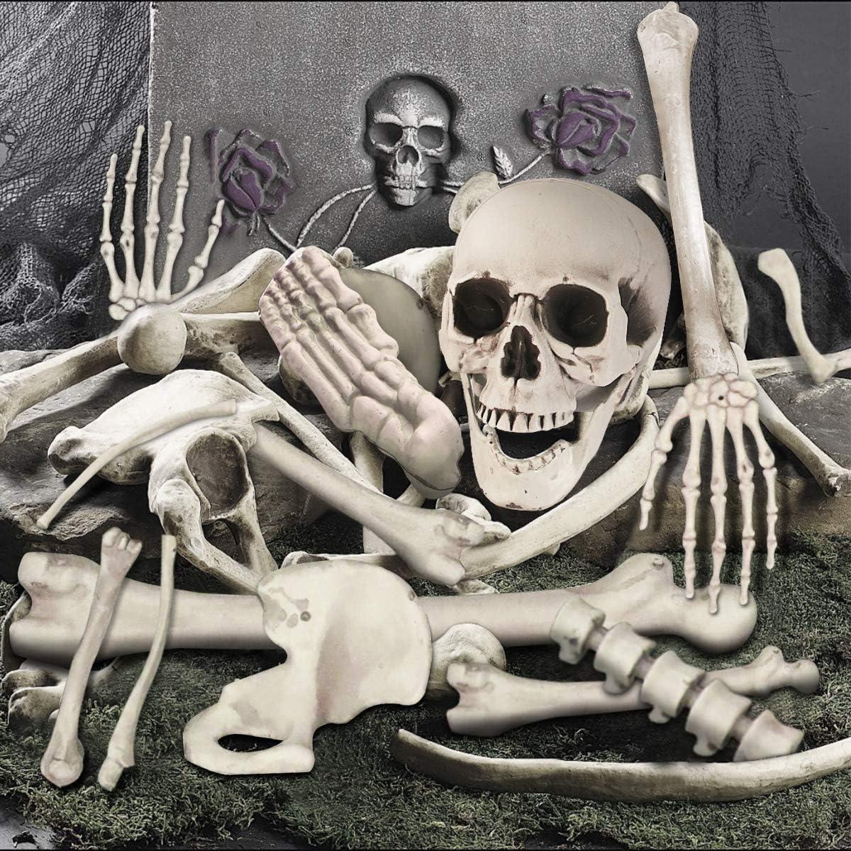 Skeleton Bones for Halloween Decoration Plastic Bones Scary Props Decoration for Life Size Skull Bones Decor for Halloween Graveyard Scene Haunted
