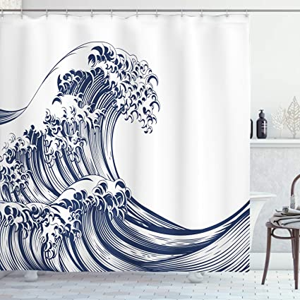 Ambesonne Japanese Wave Shower Curtain, Oriental Vintage Wave Monochrome Kanagawa Inspired Antique Art, Cloth Fabric Bathroom Decor Set with Hooks, 75
