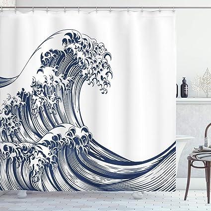 Ambesonne Japanese Wave Shower Curtain, Oriental Vintage Wave Monochrome Kanagawa Inspired Antique Art, Cloth Fabric Bathroom Decor Set with Hooks, 75